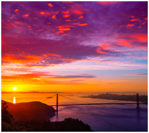 Golden Gate Bridge San Francisco sunrise California - 2014 all rights reserved